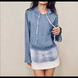 Anthropologie Cloth & Stone chambray plaid hoodie